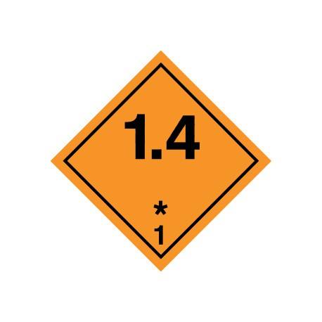Naklejka ADR - MATERIAŁY WYBUCHOWE 1.4 (klasa 1)