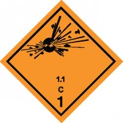 Naklejka ADR - MATERIAŁY WYBUCHOWE 1.1 GRUPA ZGODNOŚCI C nr kat 1.1C 300x300