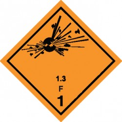 Naklejka ADR - MATERIAŁY WYBUCHOWE 1.3 (klasa 1) GRUPA ZGODNOŚCI F nr kat 1.3F 300x300