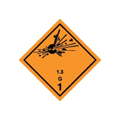 Naklejka ADR - MATERIAŁY WYBUCHOWE 1.3 (klasa 1) GRUPA ZGODNOŚCI S nr kat 1.3S 100x100