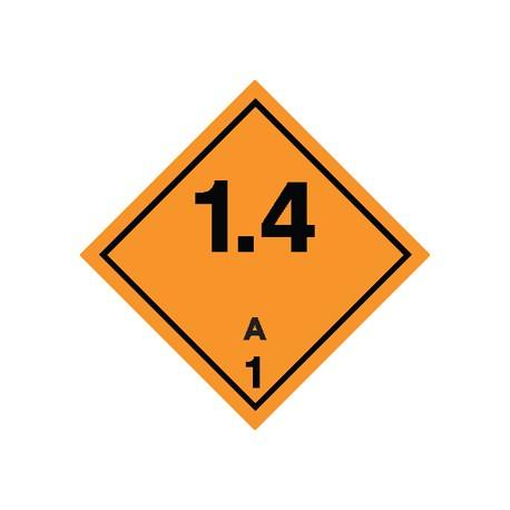 Naklejka ADR - MATERIAŁY I SUBSTANCJE WYBUCHOWE 1.4 GRUPA ZGODNOŚCI A nr kat 1.4A 100x100