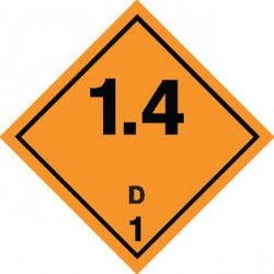 Naklejka ADR - MATERIAŁY I SUBSTANCJE WYBUCHOWE 1.4 GRUPA ZGODNOŚCI D nr kat 1.4D 100x100