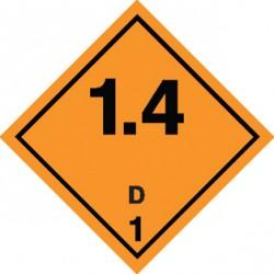 Naklejka ADR - MATERIAŁY I SUBSTANCJE WYBUCHOWE 1.4 GRUPA ZGODNOŚCI D nr kat 1.4D 250x250