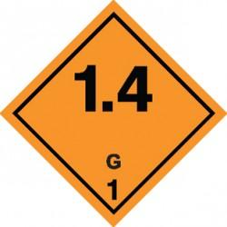 Naklejka ADR - MATERIAŁY I SUBSTANCJE WYBUCHOWE 1.4 GRUPA ZGODNOŚCI G nr kat 1.4G 250x250