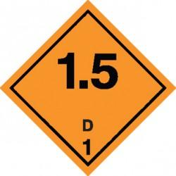 Naklejka ADR - MATERIAŁY I SUBSTANCJE WYBUCHOWE 1.5 GRUPA ZGODNOŚCI D nr kat 1.5D 250x250