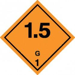 Naklejka ADR - MATERIAŁY I SUBSTANCJE WYBUCHOWE 1.5 GRUPA ZGODNOŚCI G nr kat 1.5G 100x100