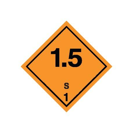 Naklejka ADR - MATERIAŁY I SUBSTANCJE WYBUCHOWE 1.5 GRUPA ZGODNOŚCI S nr kat 1.5S 100x100