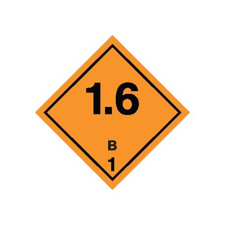 Naklejka ADR - MATERIAŁY I SUBSTANCJE WYBUCHOWE 1.6 GRUPA ZGODNOŚCI B nr kat 1.6B 100x100