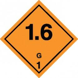 Naklejka ADR - MATERIAŁY I SUBSTANCJE WYBUCHOWE 1.6 GRUPA ZGODNOŚCI G nr kat 1.6G 100x100