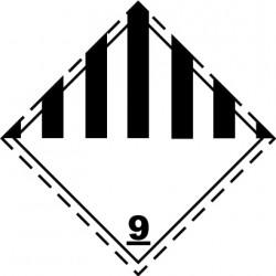 Naklejka ADR - RÓŻNE MATERIAŁY I PRZEDMIOTY NIEBEZPIECZNE nr kat 9 100x100
