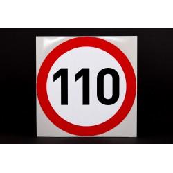 Naklejka Limit prędkości 110 km/h - odblaskowa