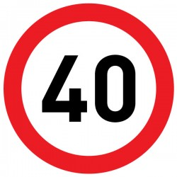 Naklejka Limit prędkości 40 km/h - folia nieodblaskowa