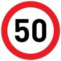 Naklejka Limit prędkości 50 km/h - folia nieodblaskowa