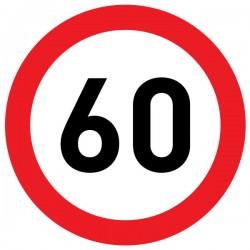 Naklejka Limit prędkości 60 km/h - folia nieodblaskowa