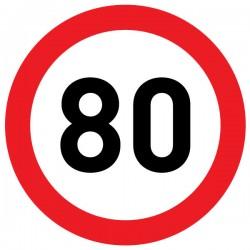 Naklejka Limit prędkości 80 km/h - folia nieodblaskowa
