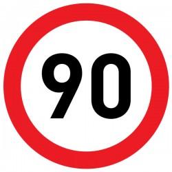 Naklejka Limit prędkości 90 km/h - folia nieodblaskowa